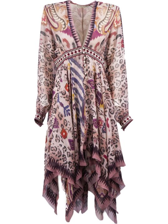 Etro Pink Silk Mixed Print Dress
