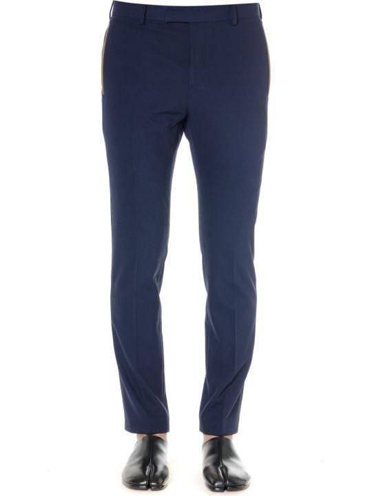 Calvin Klein Navy Gabardine Trousers With Contrast Trim