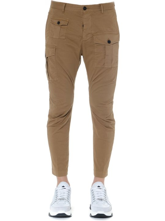 Dsquared2 Cargo Slim Fit Cotton Pants With Pockets