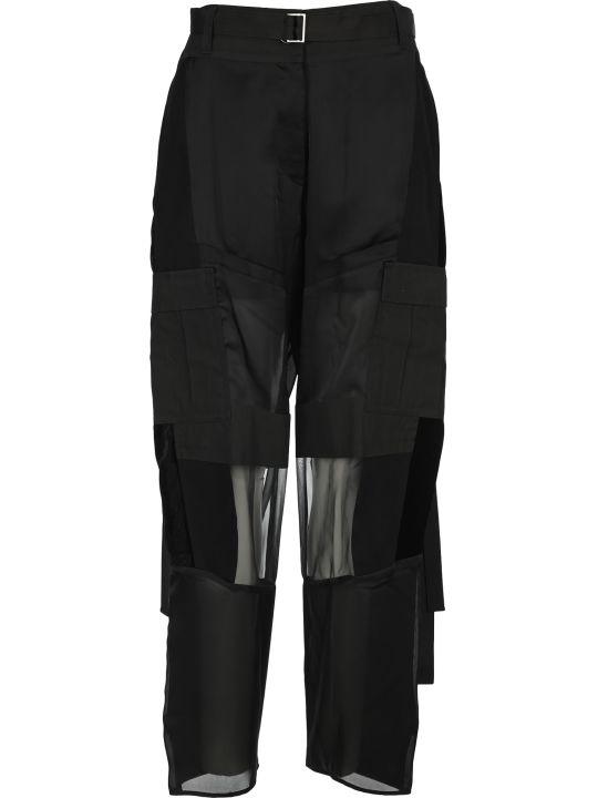 Sacai Wide Leg Sheer Panelled Trousers