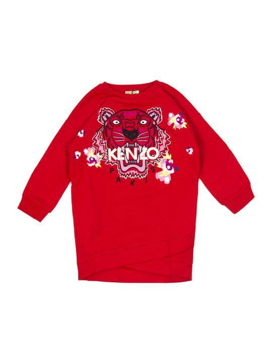 Kenzo Red Cotton Blend Sweatshirt Dress