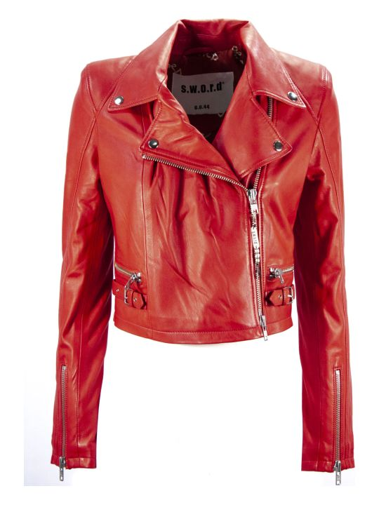 S.W.O.R.D 6.6.44 Red Leather Biker Jacket