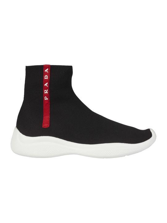 Prada Linea Rossa Knitted Hi-top Sneakers