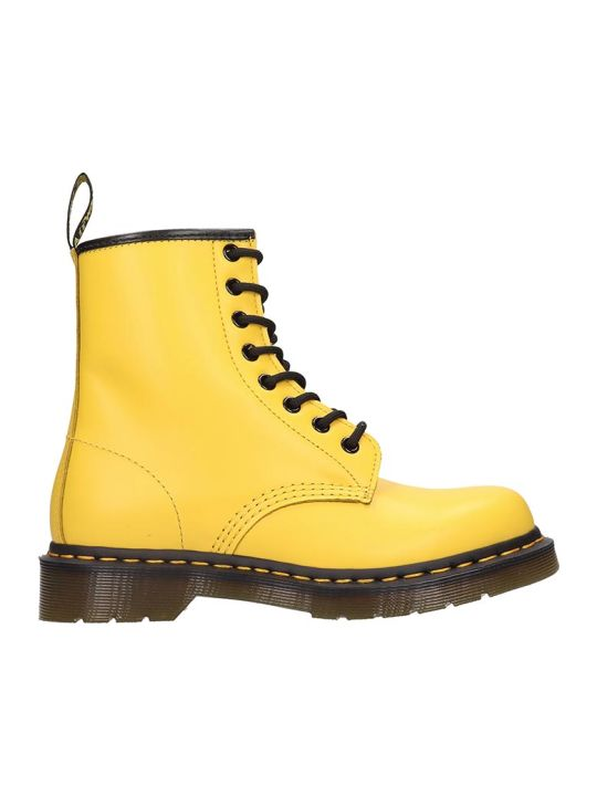 Dr. Martens 1460 Combat Boots In Yellow Leather