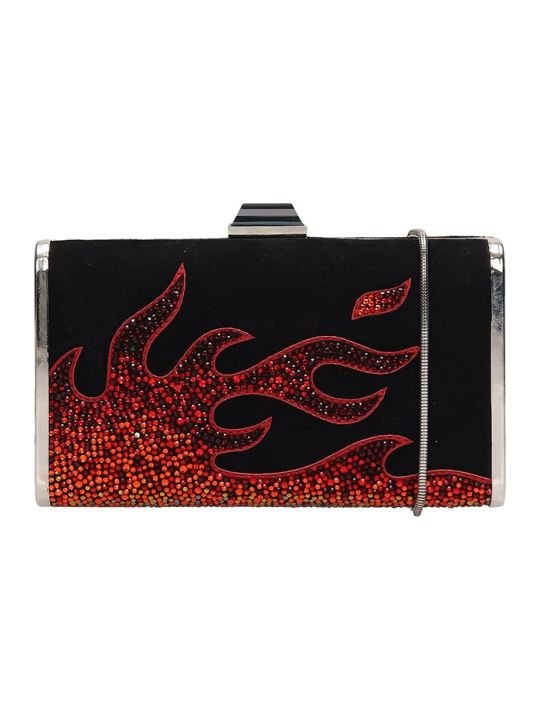 Lola Cruz Black Suede Clutch Bag