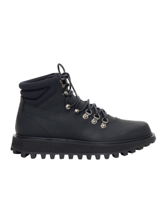 Dolce & Gabbana Vulcano Hiking Boots Crafted In Rubberized Leather And Neoprene