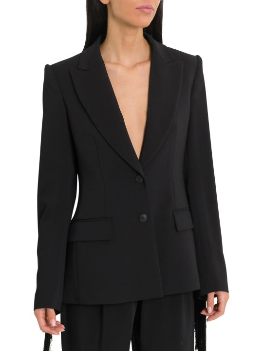 Alberta Ferretti Shoulder Padded Blazer With Fringe On Sleeves And Yoke