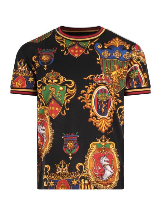 Dolce & Gabbana Black Boy T-shirt With Colorful Badges