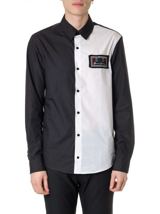 Versus Versace Bicolor Shirt Black & White With Embroidered 90s Logo