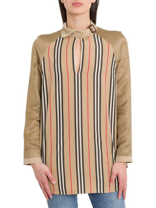Burberry Striped Blouse With Buckle Collar