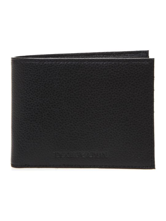 Emporio Armani Black Leather Wallet With Embossed Logo