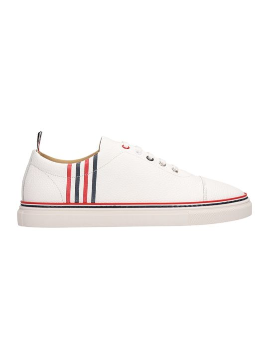 Thom Browne Classic Trainer White Leather Sneakers