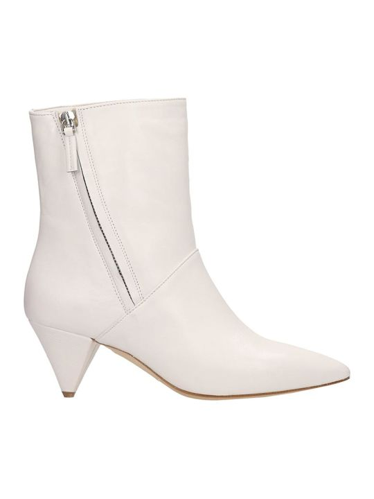 The Seller White Leather Ankle Boots