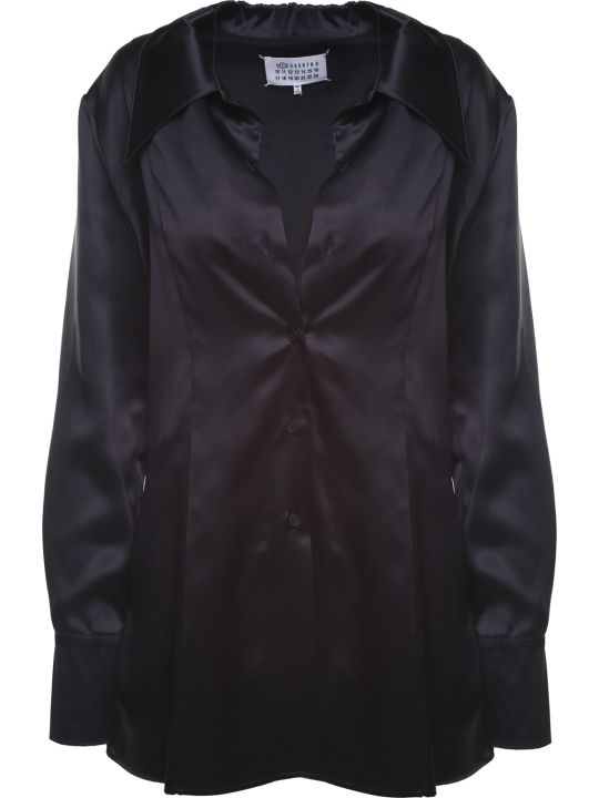 Maison Margiela Chantlly-lace And Silk-satin Shirt