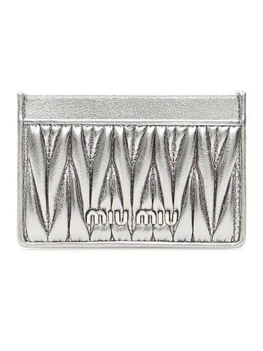 Miu Miu Silver-laminated Cardholder