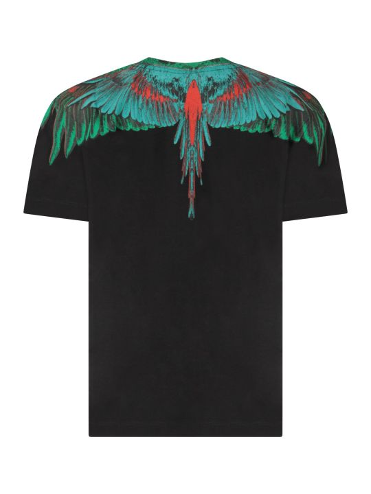 Marcelo Burlon Black Boy T-shirt With Green And Red Iconic Wings
