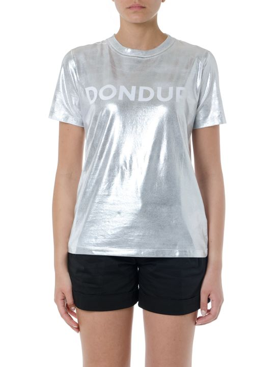 Dondup White & Silver Elastic Cotton Logo   T-shirt