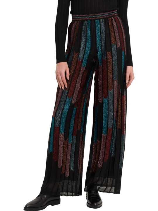 M Missoni Mulitcoloured Stripes Palazzo Trousers In Lurex Knit