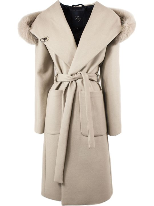 Fay Coat In Beige Lined Fabric