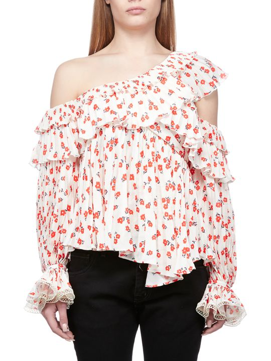 self-portrait Ruffle Asymmetric Blouse