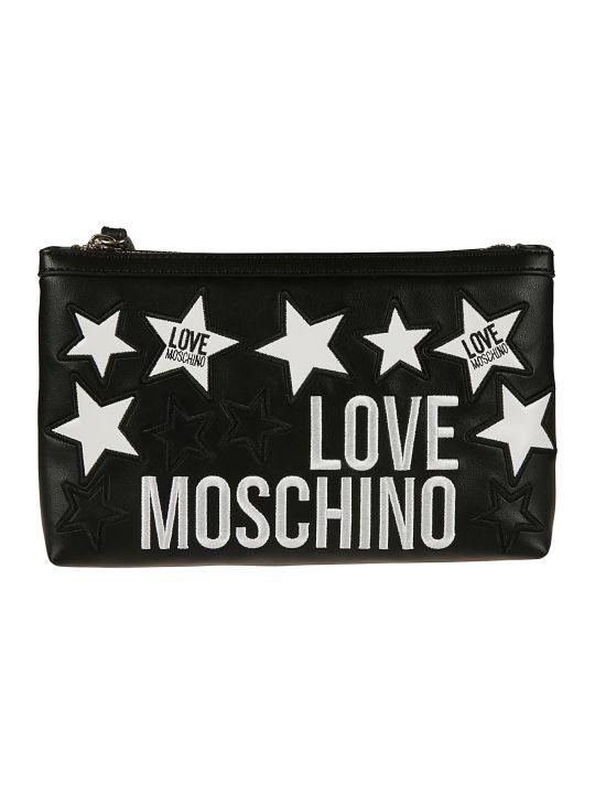 Love Moschino Logo & Star Embroidered Clutch