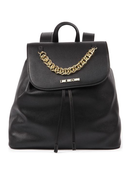 Love Moschino Black Faux Leather Chained Backpack