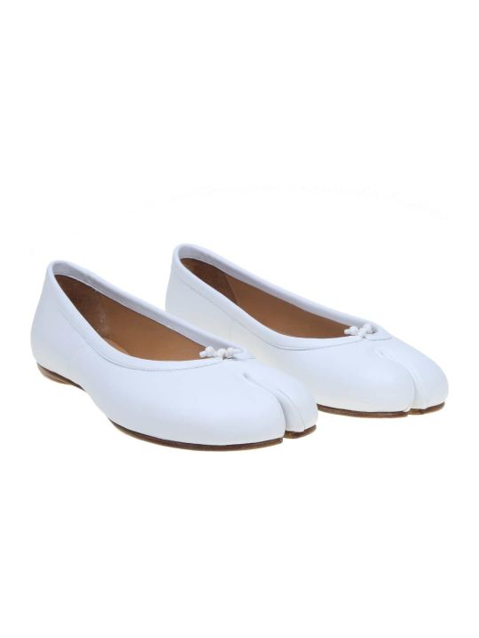 Maison Margiela Ballerina Tabi In Leather White Color