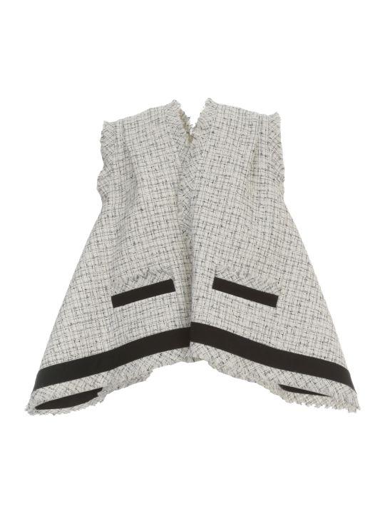 Sacai Summer Tweed Vest Jacket V Neck W/fringes