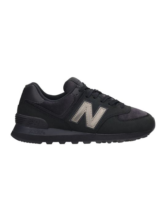 New Balance 574 Sneakers In Black Nubuck