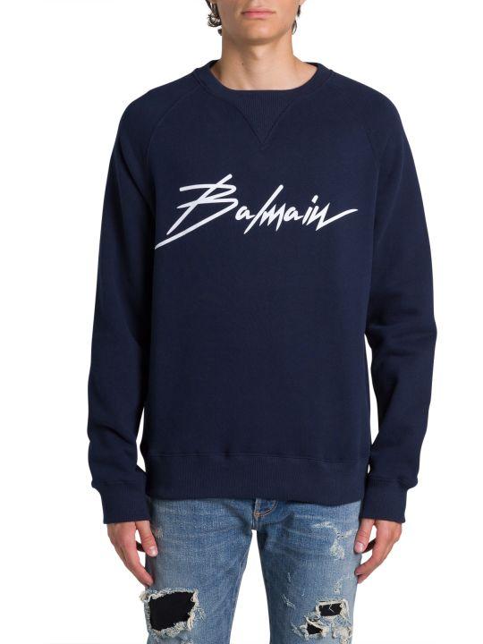 Balmain 'balmain Signature' Floc Print Sweatshirt
