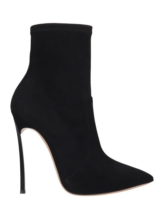 Casadei Ankle Boots In Black Suede
