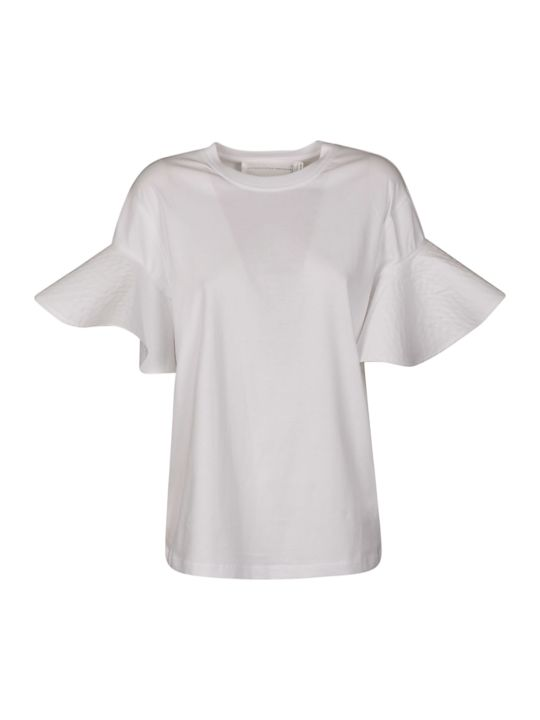 Victoria Beckham Ruffled Cuffs Cotton T-shirt