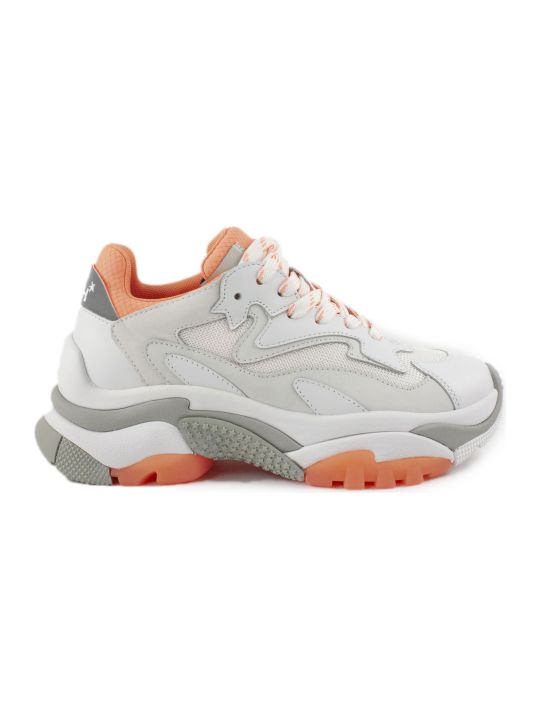 Ash White And Orange Addict Sneakers