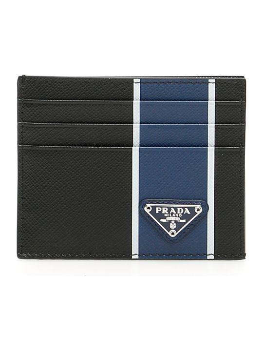 Prada Stripe Saffiano Cardholder
