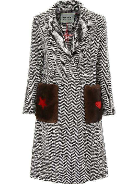 Ava Adore Chevron Coat With Mink Fur