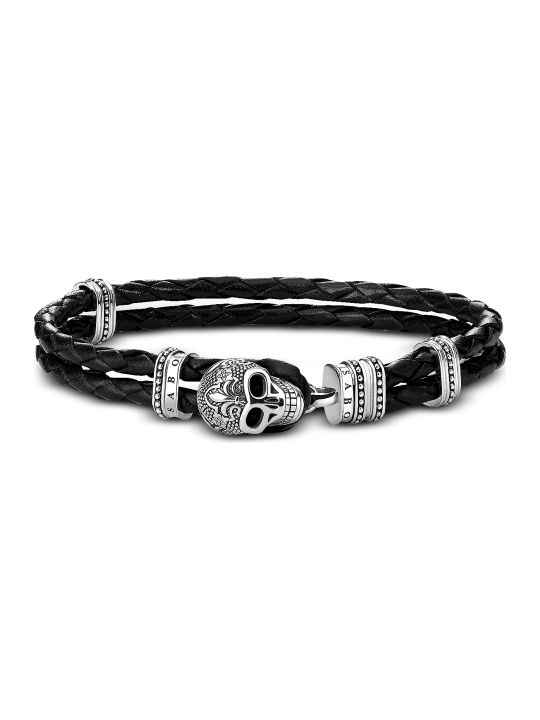 Thomas Sabo Blackened 925 Sterling Silver And Leather Skull With Lily Double Bracelet