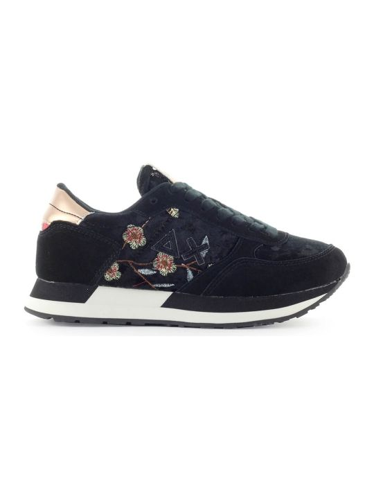 Sun 68 Sun68 Kate Velvet Flower Black Sneaker