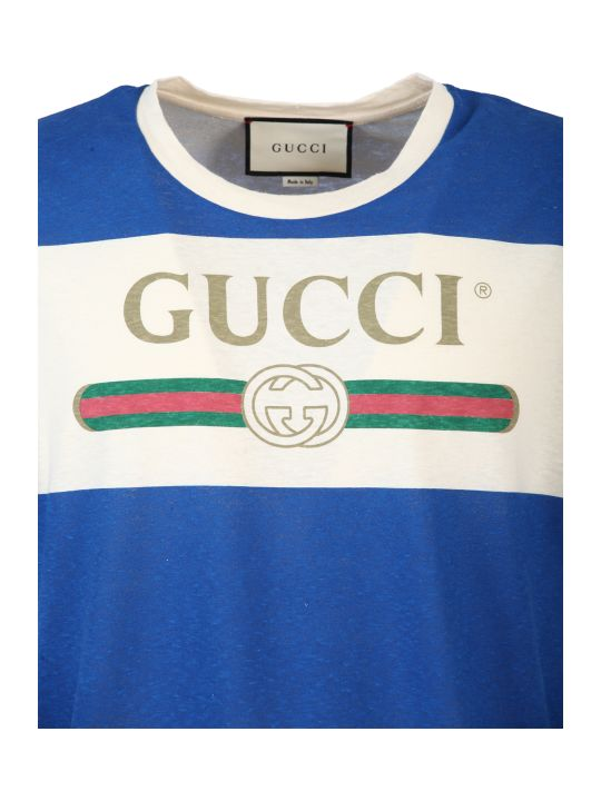 Gucci White And Blue Striped T-shirt