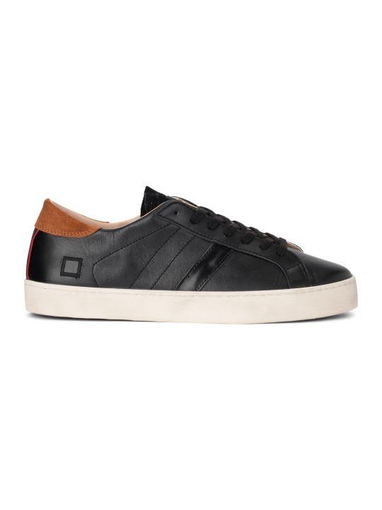 D.A.T.E. Sneaker D.a.t.e. Hill Low Calf Black Leather Sneaker