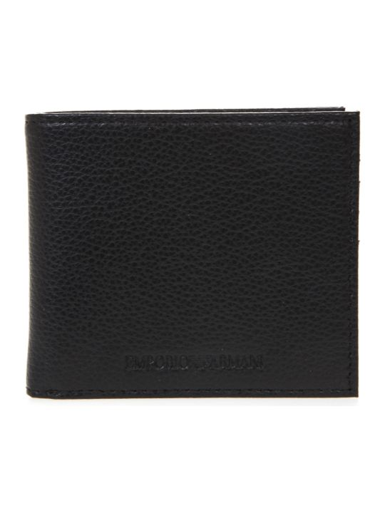 Emporio Armani Black Leather Wallet With Engraved Logo