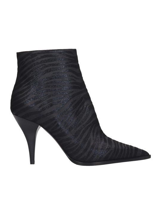 Casadei Ankle Boots In Black Fabric