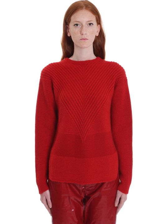 Rick Owens Oversize Round Knitwear In Red Wool