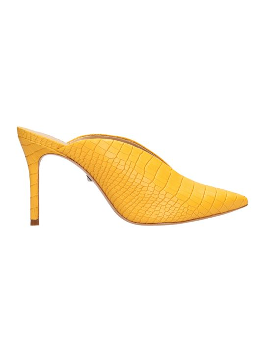 Schutz Cocco Print Yellow Leather Mules