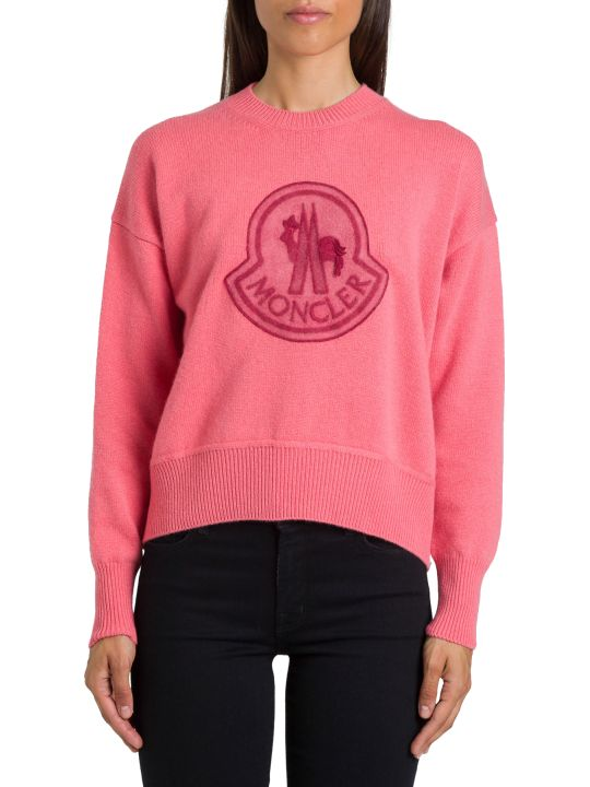 Moncler Maglia Girocollo Con Logo In Wool Cashmere Jersey