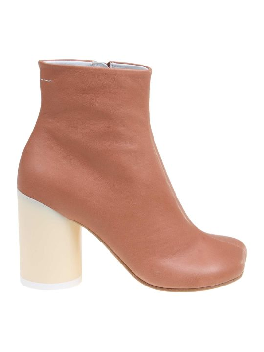 MM6 Maison Margiela Nude Leather Ankle Boot