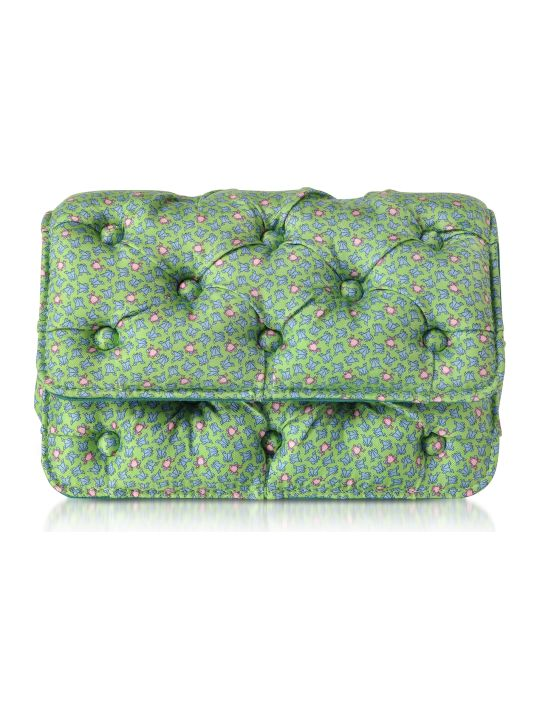 Benedetta Bruzziches Frogs Printed Green Satin Silk Carmen Shoulder Bag