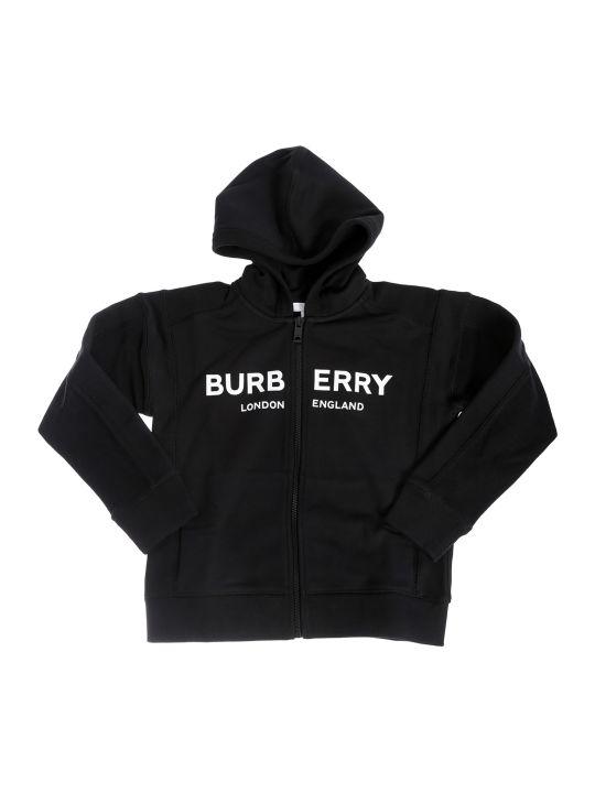 Burberry Logo Print Zipped Hoodie