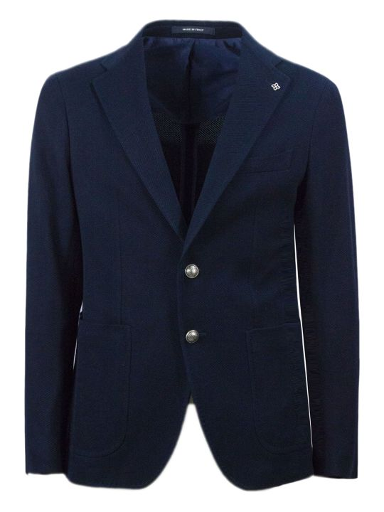 Tagliatore Blue Cotton Blend Blazer