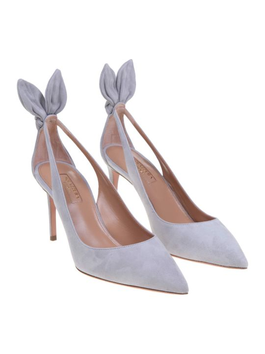Aquazzura Deneuve Pump In Gray Suede
