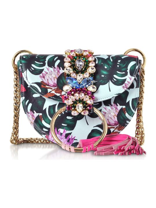 Gedebe Brigitte Azure Tropical Flower Shoulder Bag